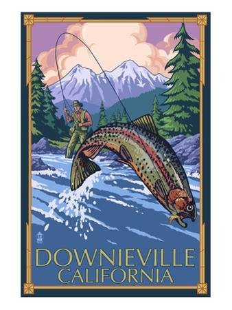 Downieville, California - Fly Fishing by Lantern Press