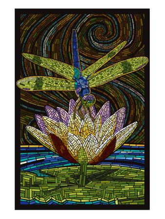 Dragonfly - Paper Mosaic by Lantern Press