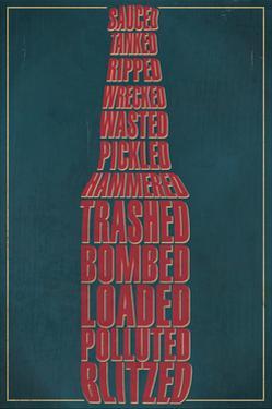 Drunk Typography - Beer Bottle by Lantern Press