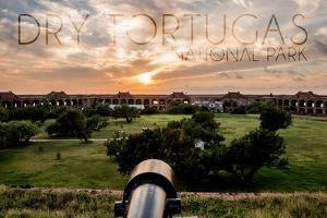 Dry Tortugas National Park, Florida - Sunset and Cannon by Lantern Press