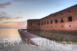 Dry Tortugas National Park, Florida - Sunset and Fort by Lantern Press