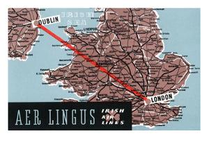 Dublin, Ireland - Aer Lingus Irish Airlines, Map View of Dublin-London Route by Lantern Press