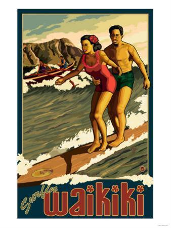 Duke Kahanamoku Surfing Scene, Waikiki, Hawaii
