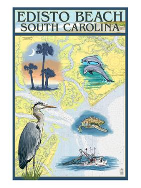 Edisto Beach, South Carolina - Nautical Chart by Lantern Press