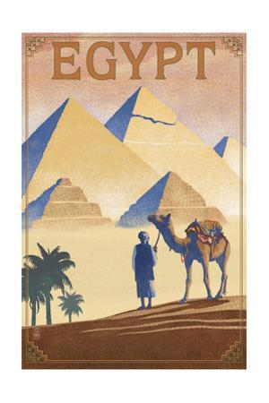 Egypt - Pyramids - Lithograph Style by Lantern Press
