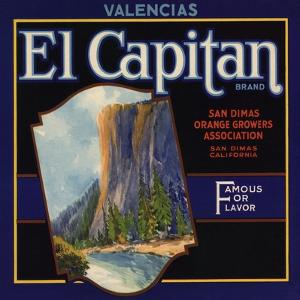 El Captain Brand - San Dimas, California - Citrus Crate Label by Lantern Press
