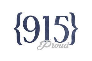El Paso, Texas - 915 Area Code (Blue) by Lantern Press