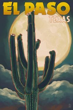 El Paso, Texas - Cactus and Full Moon by Lantern Press