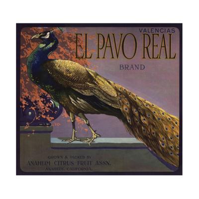 El Pavo Real Brand - Anaheim, California - Citrus Crate Label by Lantern Press