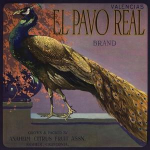 El Pavo Real Brand - Anaheim, California - Citrus Crate Label by Lantern Press
