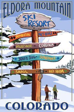 Eldora, Colorado - Sign Destinations by Lantern Press
