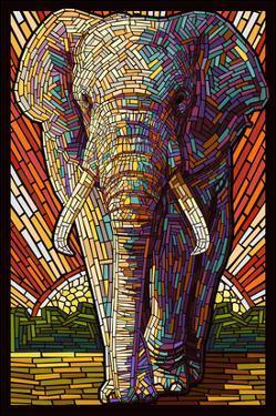 Elephant - Paper Mosaic by Lantern Press