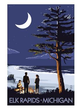 Elk Rapids, Michigan - Bonfire at Night Scene by Lantern Press
