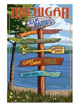 Elk Rapids, Michigan - Sign Destinations by Lantern Press