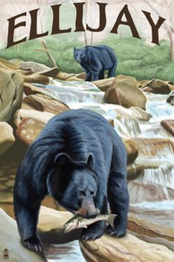 Ellijay, Georgia - Black Bears Fishing by Lantern Press