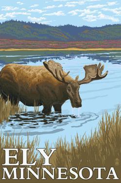 Ely, Minnesota - Moose and Lake by Lantern Press