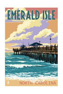 Emerald Isle, North Carolina - Fishing Pier by Lantern Press