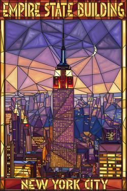 Empire State Building Stained Glass Window - New York City, NY by Lantern Press