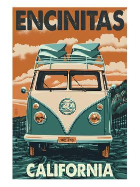 Encinitas, California - VW Van Blockprint by Lantern Press