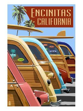 Encinitas, California - Woodies Lined Up by Lantern Press