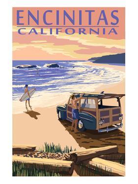 Encinitas, California - Woody on Beach by Lantern Press