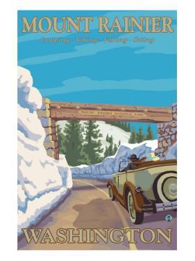 Entrance to Park, Mt. Rainier National Park, Washington by Lantern Press