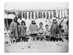 Eskimo Children in front of Dried Salmon Photograph - Alaska by Lantern Press