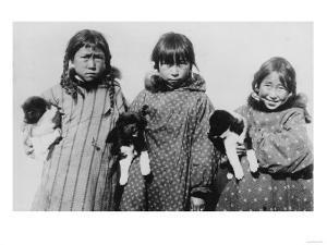 Eskimo Girls with Husky Puppies Photograph - Alaska by Lantern Press