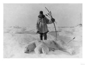 Eskimo Hunter with Polar Bear Photograph - Alaska by Lantern Press