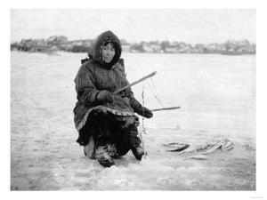 Eskimo Ice Fishing in Nome, Alaska Photograph - Nome, AK by Lantern Press