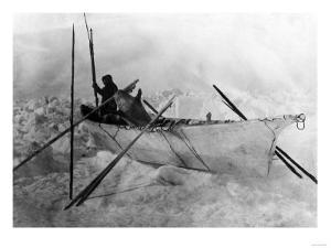 Eskimo in Boat made with Skins called an Omiak Photograph - Alaska by Lantern Press