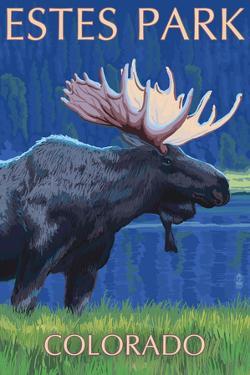Estes Park, Colorado - Moose at Night by Lantern Press