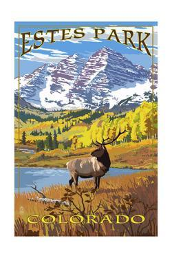 Estes Park, Colorado - Mountains and Elk by Lantern Press
