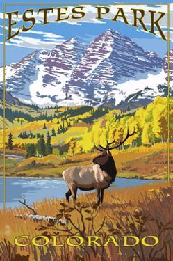 Estes Park, Colorado - Mountains and Elk by Lantern Press