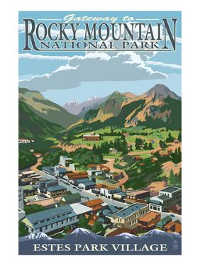 Estes Park Village, Colorado - Town View by Lantern Press