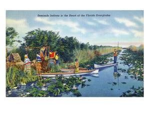 Everglades Nat'l Park, Florida - Seminole Indians in Longboats by Lantern Press