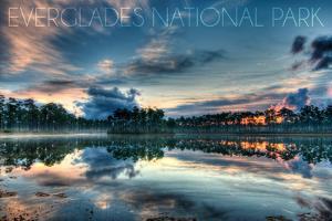Everglades National Park, Florida - Orange Sky and Water by Lantern Press