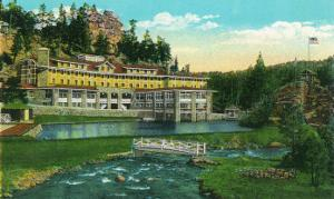 Evergreen, Colorado, Exterior View of the New Troutdale Hotel in Bear Creek Canyon by Lantern Press