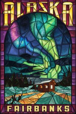 Fairbanks, Alaska - Cabin and Northern Lights Stained Glass by Lantern Press