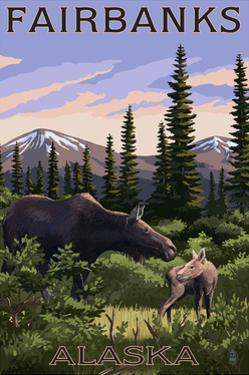 Fairbanks, Alaska - Moose and Baby by Lantern Press