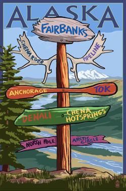 Fairbanks, Alaska - Sign Destinations by Lantern Press