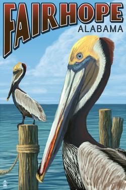Fairhope, Alabama - Pelican Scene by Lantern Press