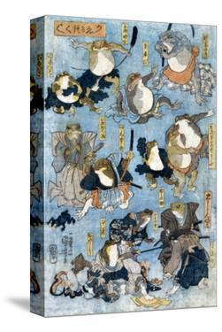 Famous Heroes of the Kabuki Stage Played by Frogs, Japanese Wood-Cut Print by Lantern Press