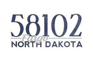 Fargo, North Dakota - 58102 Zip Code (Blue) by Lantern Press