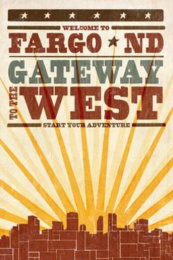 Fargo, North Dakota - Skyline and Sunburst Screenprint Style by Lantern Press