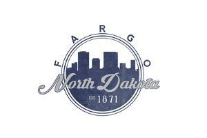 Fargo, North Dakota - Skyline Seal (Blue) by Lantern Press