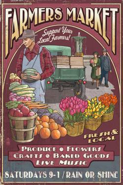 Farmers Market Vintage Sign by Lantern Press