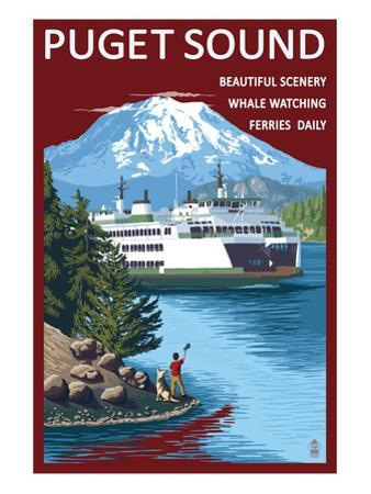 Ferry and Mount Rainier Scene - Puget Sound, Washington by Lantern Press