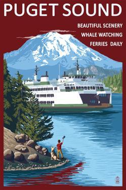 Ferry and Mount Rainier Scene - Puget Sound, Washington by Lantern Press