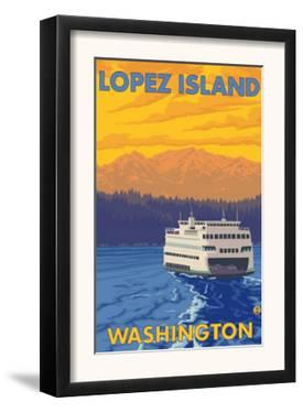 Ferry and Mountains, Lopez Island, Washington by Lantern Press